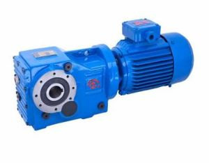 China Hk 107 Right Angle Helical Bevel Gearbox Gear Motor