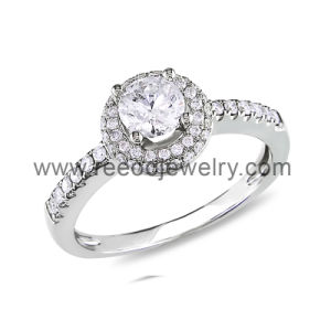 Sterling Silver Vintage Style Round CZ Stone Engagement Ring