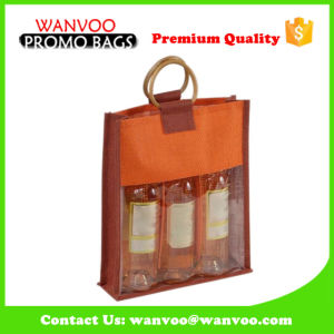 Window Packaging Wine Bottle with Golden Round Handle pictures & photos