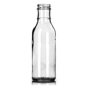 Glass Bottles, 12 Oz Clear Glass Barbecue Sauce Bottles W/ Black Ribbed Lined Caps pictures & photos