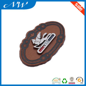 Real Leather Patch, Custom Leather Label with Metal Badge pictures & photos