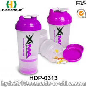 600ml Newly Plastic Protein Shaker Bottle with Stainless Ball, BPA Free PP Powder Shaker Bottle (HDP-0313) pictures & photos