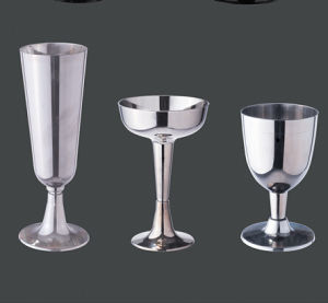 Stainless Silver Coated Plastic Champagne Glass pictures & photos