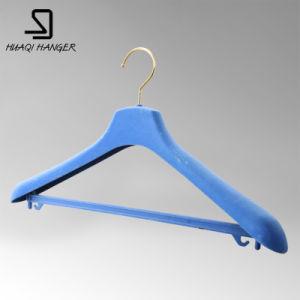 Black Plastic Clothes Hanger with Flocked Shoulder pictures & photos