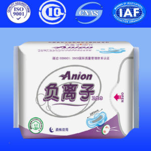 Ladies Sanitary Pads with Cotton Sanitary Napkin with Anion Lady Napkin (AT140) pictures & photos
