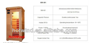 2017 Hotwind Hemlock Far Infrared Sauna for 1 Person-B1 pictures & photos