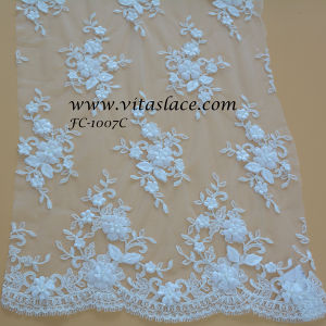 Ivory Rayon Floral Lace Fabric for Bridesmaid Dress FC-1007c pictures & photos