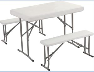 Plastic Folding Conference Table with Bench Attached pictures & photos