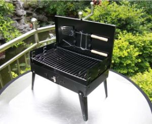 Outdoor Charcoal Box Barbecue Grill with BBQ Fork pictures & photos