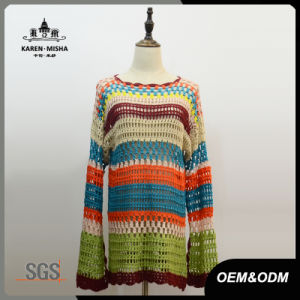 Women Fashion Scalloped Crochet Sweater pictures & photos