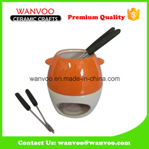 China Factory Two Tone Ceramic Melted Butter Fondue Pot pictures & photos