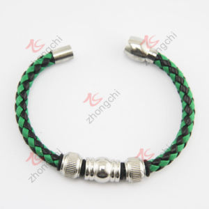 Braided PU Leather Magnet Clasp Bangle (LB) pictures & photos