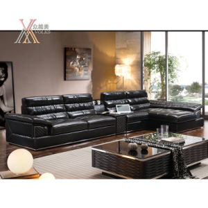 Living Room Black Leather Sofa Set with Table and Chaise (812) pictures & photos