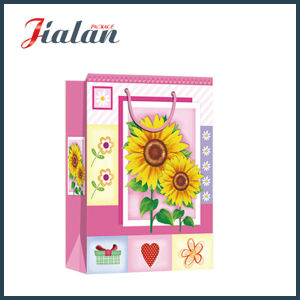 Wholesale 4c Printed Sunflowers Design Shopping Carrier Gift Paper Bag pictures & photos