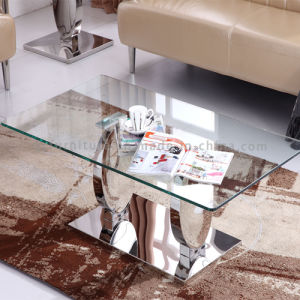 Tempered Glass (12mm) Coffee Table with Stainless Steel Base pictures & photos