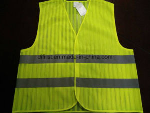 Safety Vest Flu Yellow 100%Polyester Mesh with Stripe pictures & photos
