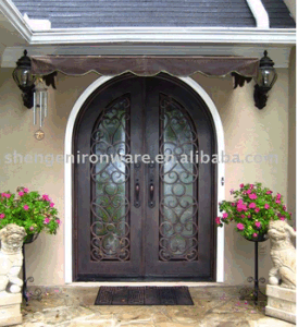 Ound Top Ornamental Elegant Wrought Iron Double Entry Door pictures & photos
