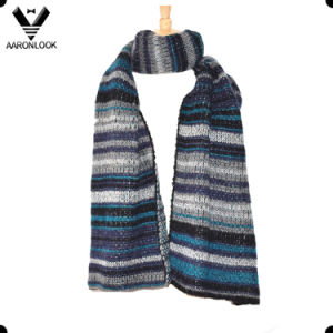 Lady′s Fashion Warm Acrylic Mohair Multicolor Stripe Knitted Scarf pictures & photos