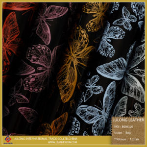 Smooth Patent Butterfly Pattern Leather PU (B006) pictures & photos