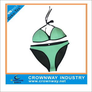 Mint Green Triangle Bikini Style Fashion Neoprene Swimwear for Women pictures & photos