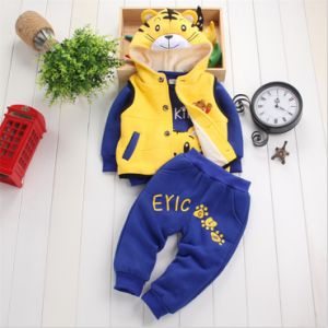 Ks1132 Winter Fleece 100% Cotton Boy′s Clothing Set Baby Clothes Set Kids Suit Children 3PCS Clothes Set (tiger Hooded Jacket+tshirt+pants) pictures & photos
