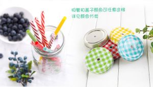 Hot Sale Colorful Glass Mason Jar with Handle pictures & photos