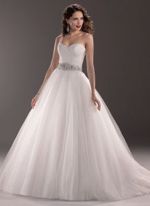 2016 Real Smaple 100% Spaghetti Strap Embroidary Wedding Gown Mermaid Bridal Dress pictures & photos
