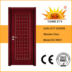 New Design Flush Single Wooden Front Doors Price (SC-W051) pictures & photos