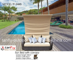 Foshan Factory Outdoor Garden Furniture Rattan Beach Sunbed with Canopy