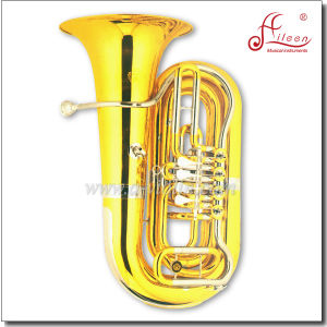 4 Valves Bb Key Gold Lacquer Rotary Tuba pictures & photos