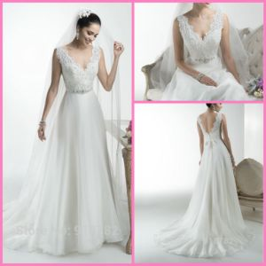 Chiffon Bridal Prom Gowns V-Neckline Lace Beach Empire Wedding Dresses Z1042 pictures & photos