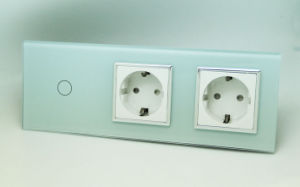EU Triple Touch Light Switch Socket Combination 1 Gang Switch and 16A Socket