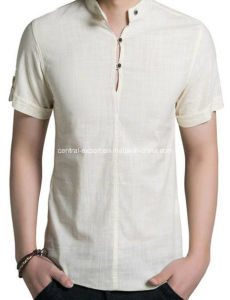 New Style Flax Fashion Men′s T Shirt pictures & photos