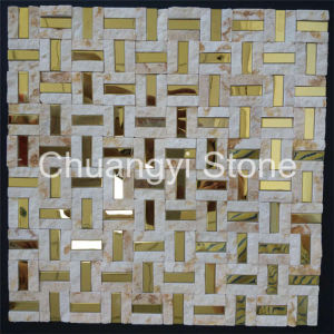 China Supplier Modern House Design Decorative Wall Tile Marble Mixed Metal Mosaic