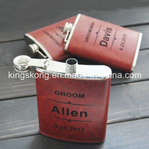 Stainless Steel Hip Flask with Color Transfer Printing PU Leather Wrap pictures & photos