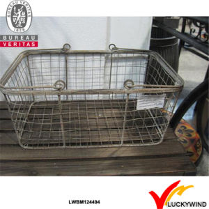 Industrial Vintage Style Interior Carry Round Metal Basket with Handle pictures & photos