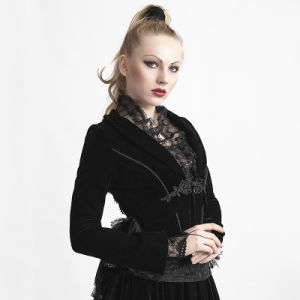 Y-614 Punk Black Gothic Lace Jacket with Swallowtai pictures & photos