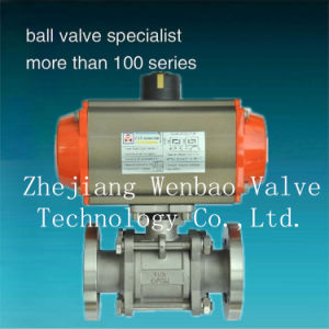 Hot Sale Flanged 3-PC Pneumatic Actuated Vacuum Ball Valve pictures & photos