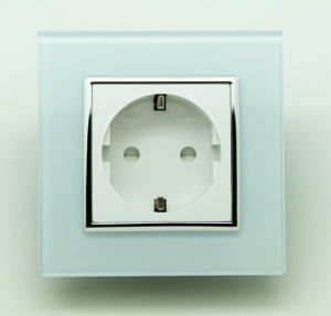 EU Standard White 16A Germany Tempered Glass Socket