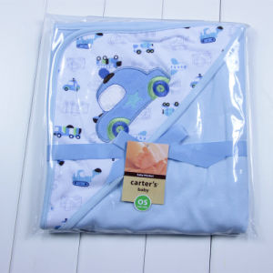 100% Knitted Cotton Embroidered Baby Swaddle Blanket Hooded Poncho pictures & photos
