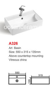 White Ceramic Art Wash Basin for Bathroom No. A326 pictures & photos