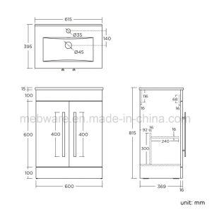 600mm Floor Standing MDF Bathroom Basin Sink Vanity Unit pictures & photos