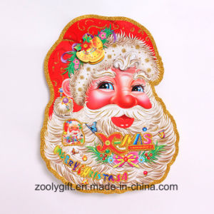 Customized 3D Classical Window Santa Claus Head Glitter Christmas Ornament Sticker pictures & photos
