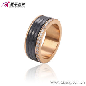 Latest Fashion CZ Crystal Stainless Steel Jewelry Ceramic Round Finger Ring-13740 pictures & photos