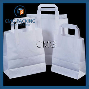 White Paper Carrier Bags with Flat Handles pictures & photos