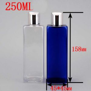 250ml Pet Plastic Shiny Aluminium Cover Disc Top Cap Square Bottle pictures & photos