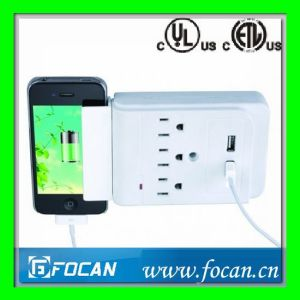 3 Outlets Surge Protected Current Tap with USB Ports pictures & photos
