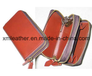 Women Red Leather Zipper Key Wallet with Coin Case pictures & photos
