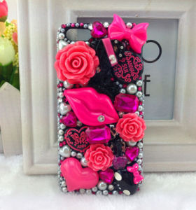 New Rose Kiss Case Bling Hard Case Cell Phone Cover for Apple iPhone 6 Case 4.7&Rrhwhr