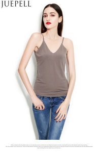 Summer New Women Sexy V-Neck Halter Vest Bottoming Slim Short Ultra-Breathable Hemp Fabric Top Vest Factory pictures & photos